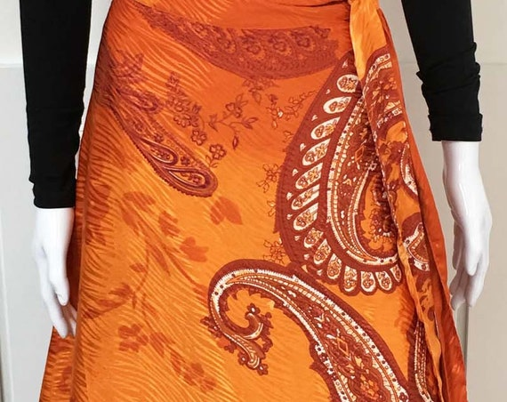Beautiful BOHO Paisley Indian Silk Wrap Midi Skirt—Size Large (10255CL)
