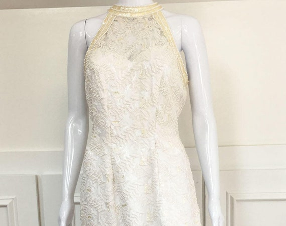 White Heavily Hand Beaded 1990s Wedding Bridal Evening Gown By Mary's Size 12 (SKU 10222CL)