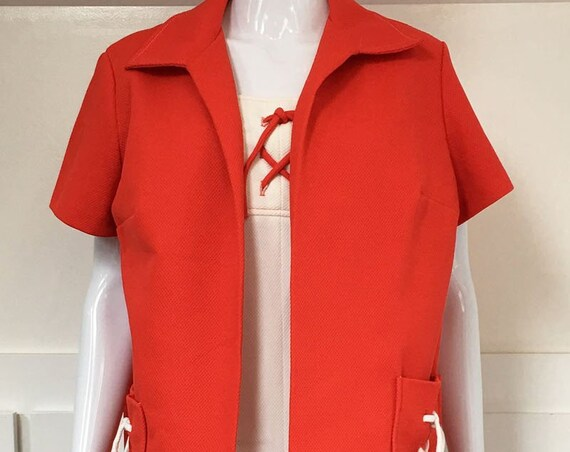 Nautical PLUS Sized Like New 1970s White Summer Dress and Red Matching Jacket PLUS Size!  (SKU 10217CL)