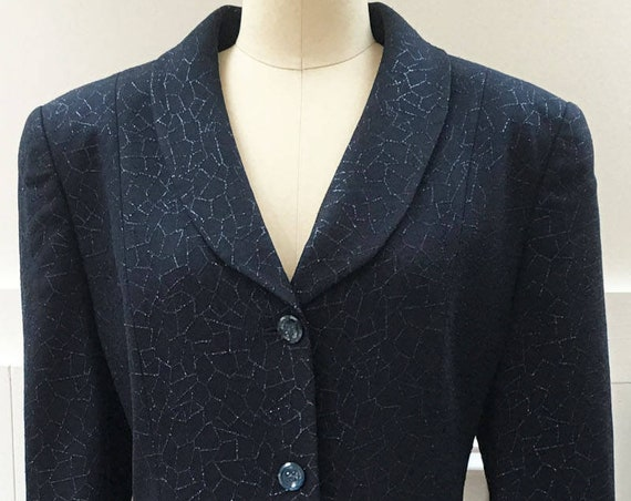 Shimmering Louis Feraud Navy Blue Metallic 1990s Evening Cocktail Skirt Suit  Sz. 12 (SKU 10505CL)