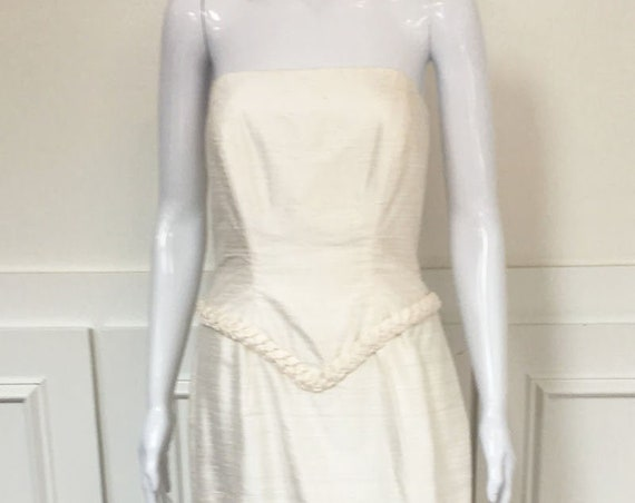 Watters and Watters Refined and SO Elegant Raw Silk Strapless Drop Waist Wedding Gown Size 8  (SKU 10224CL)