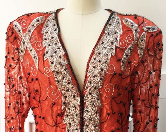 Hot Red Chili Pepper Black and Silver Hand Beaded and Sequined 1980s Evening/ Cocktail Jacket--Size XL (SKU 10493CL)
