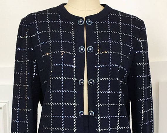 Shimmering Navy St. John Evening Basic Knit Skirt Suit Ensemble with Aurora Borealis Buttons Size 6  (SKU 10074CL)