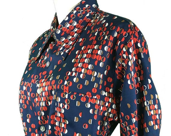 Don Loper of California by Duke of Hollywood Pop OP Art in Navy Red and White Print Shirt—Wmns PLUS/Men's Large  (10204CL)