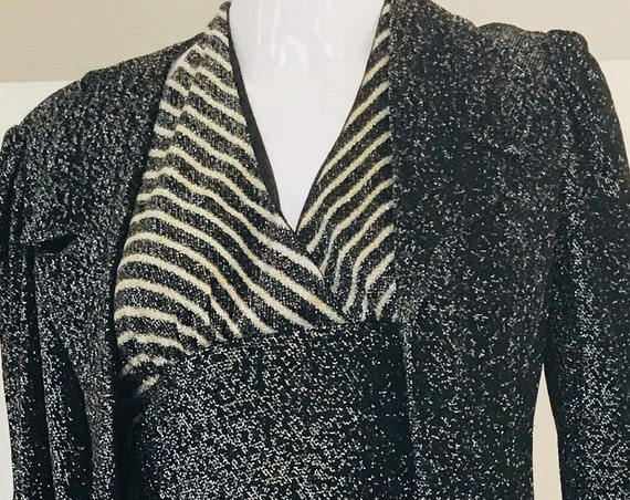 Mindy Malone Black and Silver Metallic Early 1973 Disco Dress & Jacket With Owner US Size 9  (SKU 10504CL)