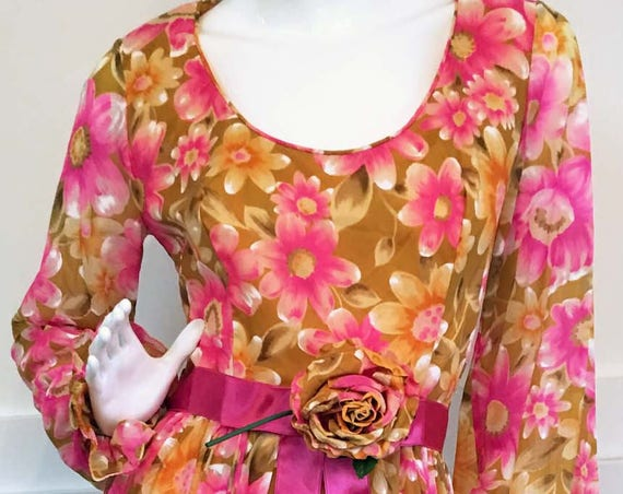 Pink Floral Boho Full Length Chiffon 1960s 1970s Gown with Scoop Neck Blouson Sleeves and Ruffle Cuffs NWTs! (SKU 10116CL)