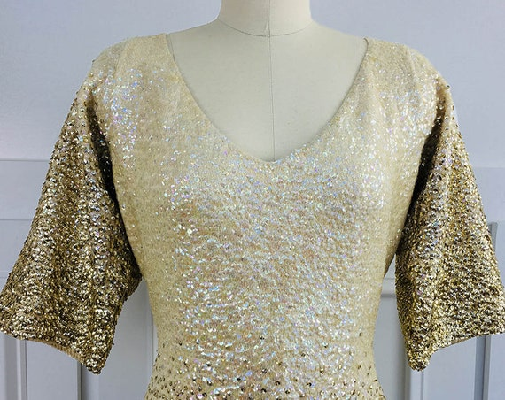 Estate of Natalie Cole! Collectors Item! Vintage c. 1980s Ivory and Gold Ombre Sequined Dress Approx. US Size 10-12 (SKU 10767CL)