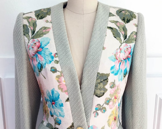 Gorgeous Galanos Pale Green with Floral Silk 1980s Wool Jacket / Blazer (SKU 10103CL)