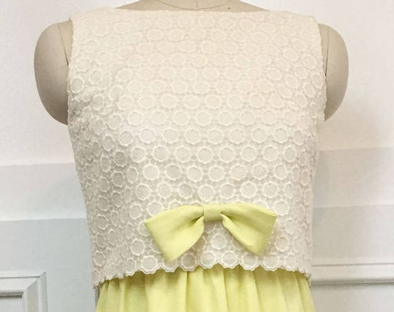 Miss Rita California Lemon Yellow & Cream Lace 1960s / 1970s Sleeveless Evening Formal  Bridesmaid Gown Size 10P (SKU 10120CL)
