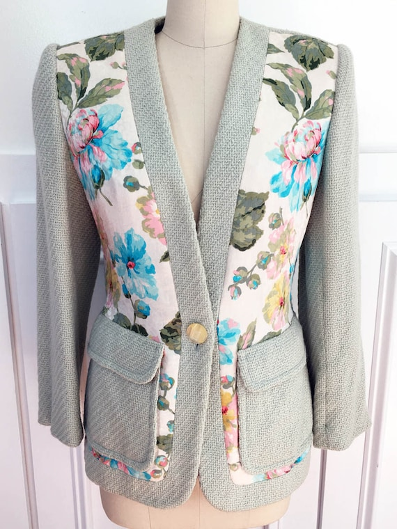 Gorgeous Galanos Pale Green with Floral Silk 1980s