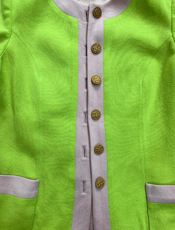 Rare Vintage 1990s Peggy Jennings Highlighter Green and Lavender Knit Cardigan Blazer Jacket Size 6 8 (SKU 11028CL)