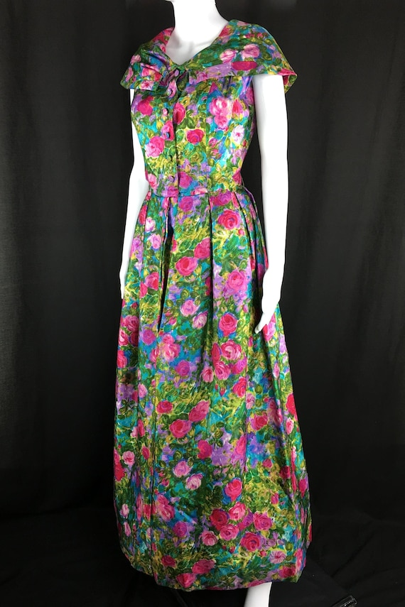 Blums Vogue Chicago Couture Custom Museum Quality Vibrant Monet Floral Print Dress (SKU 10122CL)