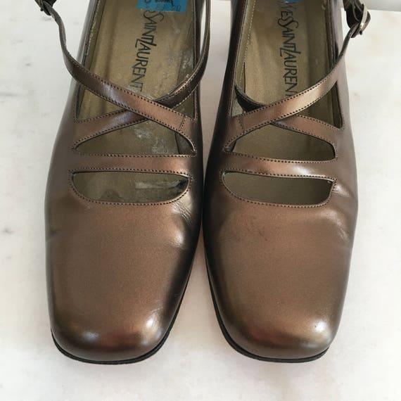Yves Saint Laurent 1980s Bronze Metallic Square Toe Heels Pumps Excellent Condition! Size 8M  (SKU 10146SH)
