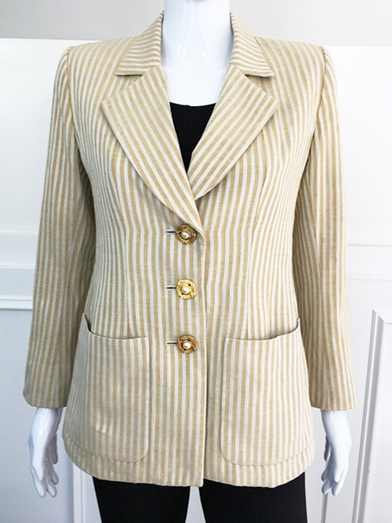 cf7a8603749 Yves Saint Laurent Rive Gauche Gold and Ivory 1090s Blazer | Etsy