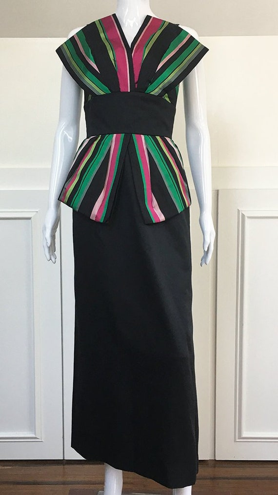 Victor Costa Gown Black Pink Green Striped Gown (S