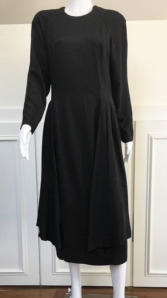 Gail Blacker NYC Black Silk 1980s Cocktail Dress R