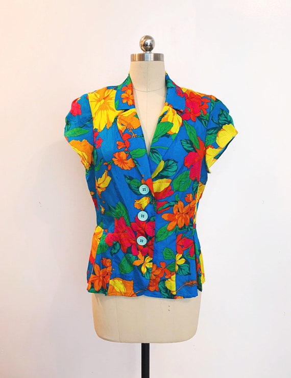 Brilliantly Printed Summer Silk Early 1990s Nanette Lepore 100% Silk Blouse Jacket  Size 10  (SKU 11025CL)