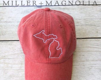 State Outline Cap   Michigan   ANY STATE -  Monogram Ball Cap - Monogram Cap - Monogram Hat - Monogrammed Cap