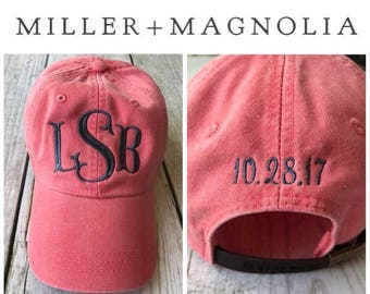 Monogram Ball Cap With Date On Back | Monogrammed Hat | Monogram Cap | Monogram Hat | Monogrammed Cap