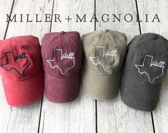 Texas Y all Ball Cap - Texas Outline Hat - Monogram Cap - Monogram Hat -  Monogrammed Cap 765ade80b171