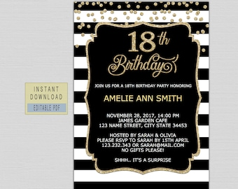 18th Birthday Invitations For Girls Eighteenth Invites Instant Download Eighteen 18 Invite Black And Gold B21