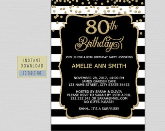 80th Birthday Invitations Instant Download For Women Invites Black And Gold Female Party B21