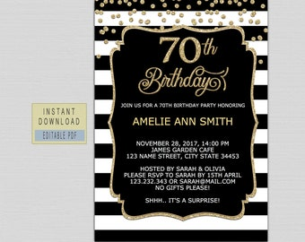 70th Birthday Invitation Instant Download Invite Party Template For Woman Black Gold Digital B21