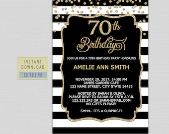 70th birthday invite etsy 70th birthday invitation instant download 70th birthday invite 70th birthday party invitation template for woman black gold digital b21 filmwisefo