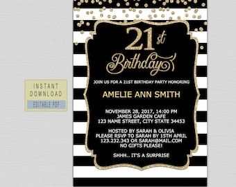 21st Birthday Party Invitation Invitations For Her Twenty One Invite Instant Download Modern Black Gold B21