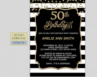 50th Birthday Invitation Instant Download Invite For Women Invitations Editable Black And Gold Fifty Edit B21