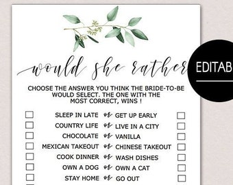 would she rather bridal shower game would she rather baby shower game editable bridal shower games greenery wedding shower game pdf b61