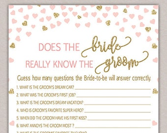 how well does the bride know the groom bride groom game blush pink and gold bridal shower game funny bridal shower question game b50