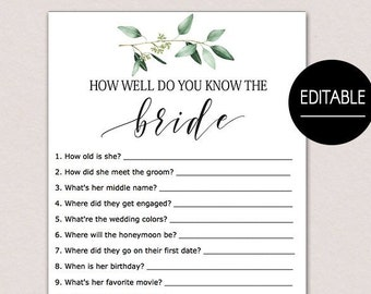 Bridal shower games etsy editable how well do you know the bride who knows the bride best who knows the bride best game greenery bridal shower games template b61 maxwellsz