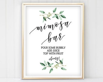 photograph relating to Free Printable Mimosa Bar Sign known as Mimosa bar printable Etsy