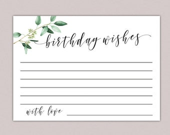Birthday Wishes Card Greenery Wish Cards Printable Milestone Write A Well Woman Party B61