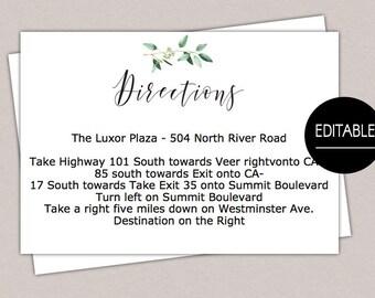 Printable Wedding Directions Card Details Template Enclosure Modern Script Greenery Bridal Shower Print B61