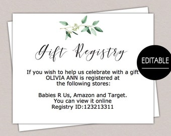 Baby Shower Registry Etsy
