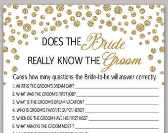how well does the bride know the groom bride groom game confetti gold bridal shower game funny bridal shower question game printable b34