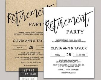 RETIREMENT INVITATION instant download, retirement invitation for woman for man, retirement party invitations simple editable invites kraft