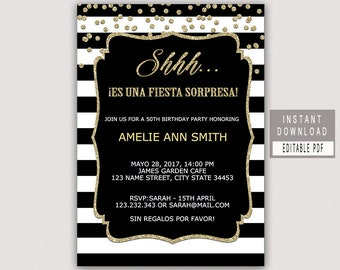 Spanish Surprise Birthday Invitation SURPRISE BIRTHDAY INVITATION Instant Download For Women Men Shh Its A Black Invites B21
