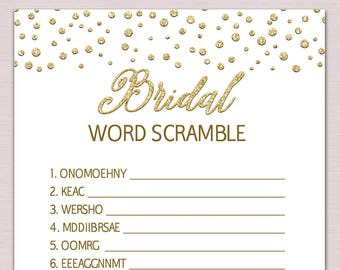bridal word scramble game unscramble words bachelorette party games gold bridal shower game cards printable game instant download pdf bl5