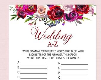 wedding a z game bridal alphabet game bridal shower games etsy