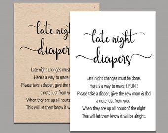 photograph relating to Late Night Diaper Sign Free Printable named LATE Evening DIAPERS Printable Late Evening Diaper Signal Late Etsy