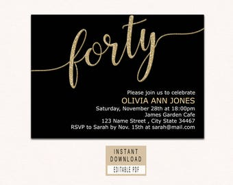 Forty And Fabulous Invitation 40th Birthday Invitations For Women Invites Instant Download Elegant Black Gold Adult Invite