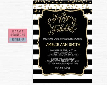 50th birthday invitations etsy fifty and fabulous invitation 50th birthday invitations instant download 50th birthday invitations for women digital black gold invite b21 filmwisefo