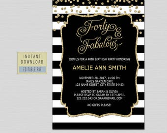 Forty And Fabulous Invitation 40th Birthday Invitations For Women Invites Instant Download Elegant Black Gold Surprise B21