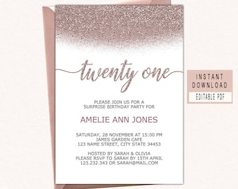 21st Birthday Party Invitation Rose Gold Invitations For Her Twenty One Invite Instant Download Modern Woman