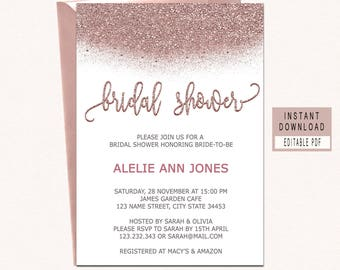 rose gold bridal shower invitation instant download modern bridal shower invitation rosegold editable bridal shower invitation printable
