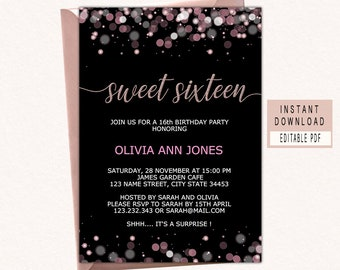 16th birthday invite etsy