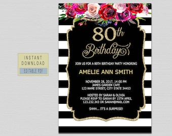 80th Birthday Invitations Instant Download For Women Invite Red Floral Black Gold Party B20